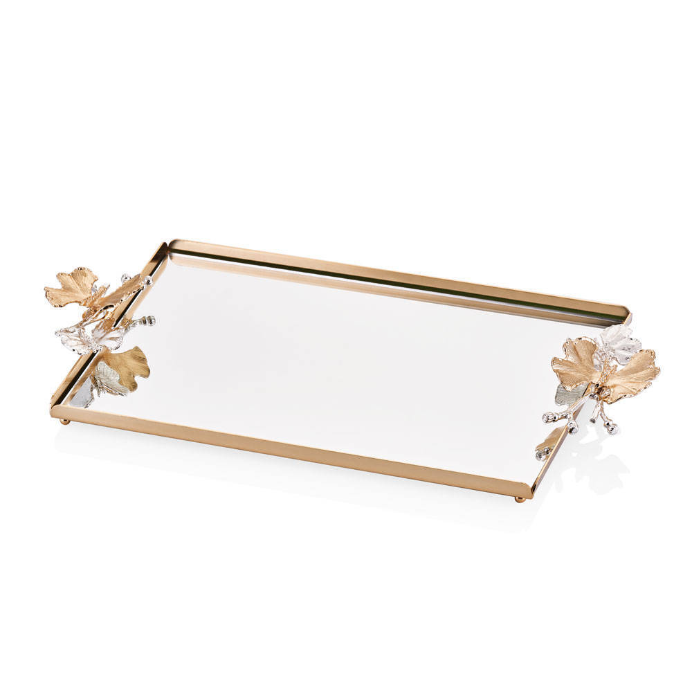 Kelebekli Gold Aynalı Servis Tepsisi - 40x26 cm