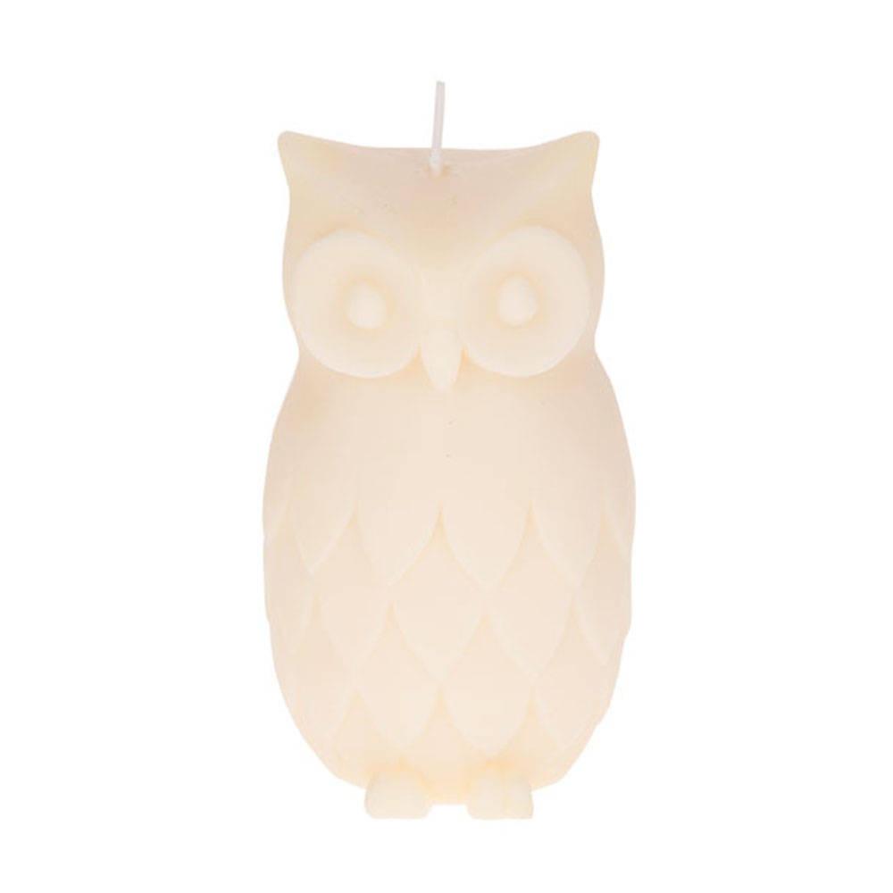 Krem Baykuş Mum 12 cm