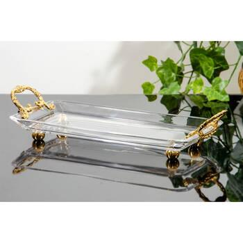 - Kristal Tepsi 30X14 Cm- Gold