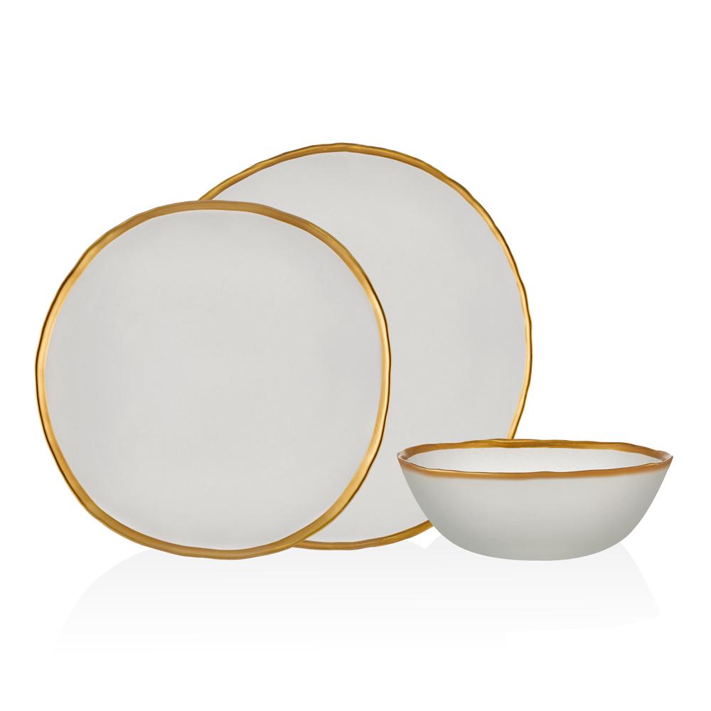 Kronos 18 Parça 6 Kişilik Yemek Takımı - Beyaz-Gold