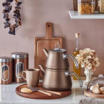 - Likya Granit Çaydanlık - Kahve