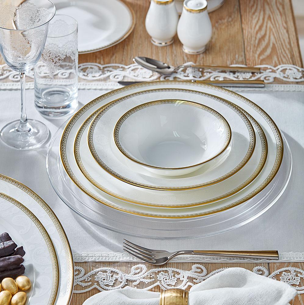 Luxury 12 Kişilik 59 Parça Bone China Yemek Takımı - Gold