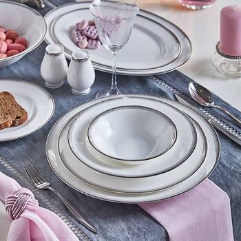 Luxury 12 Kişilik 59 Parça Yemek Takımı - Platin - Thumbnail