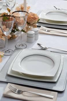 Luxury Satin 12 Kişilik 57 Parça Bone China Yemek Takımı - Thumbnail