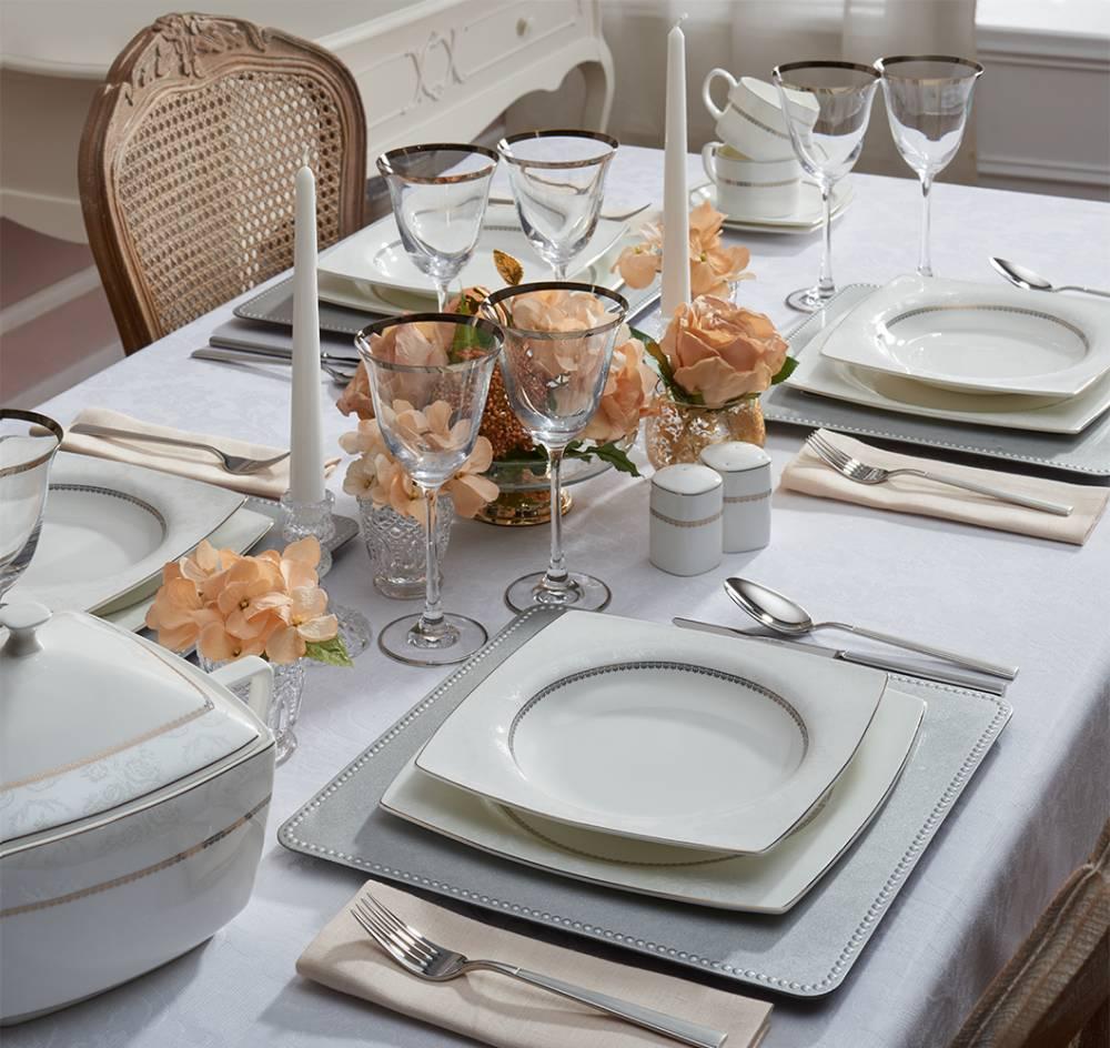 Luxury Satin 12 Kişilik 57 Parça Bone China Yemek Takımı