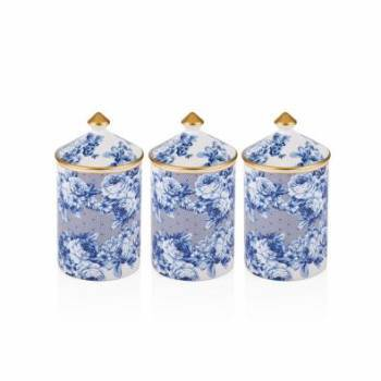 - Mavi Çiçek Desenli 3 Parça Baharatlık