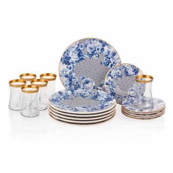 - Mavi Çiçek Desenli 6 lı Çay Seti 18 Parça Seramik Pasta Tabağı Sunum Seti