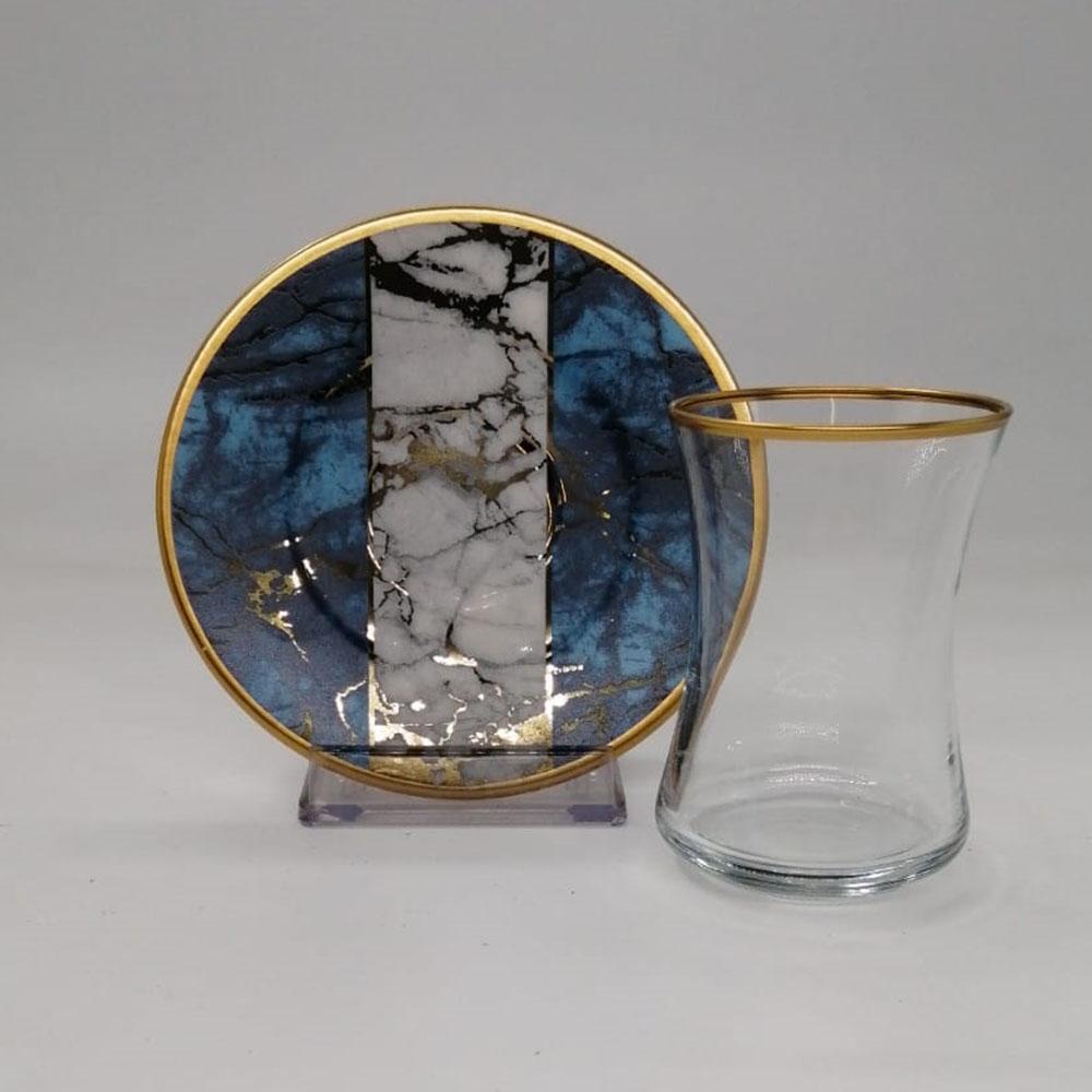 Mavi Mermer Desenli 6 Kişilik 12 Parça Çay Bardak Takımı