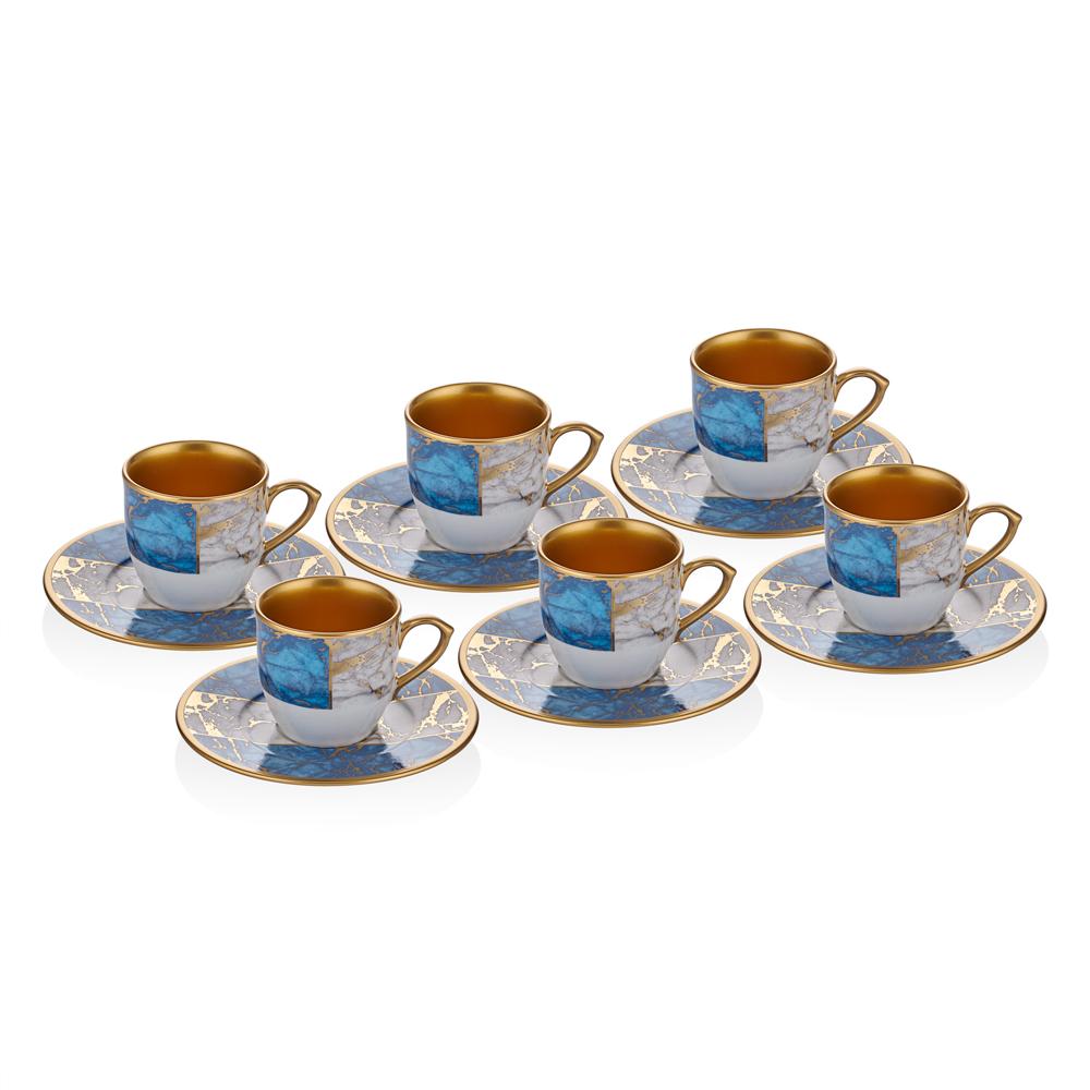 Mavi Mermer Desenli 6 Kişilik 12 Parça Kahve Fincan Takımı