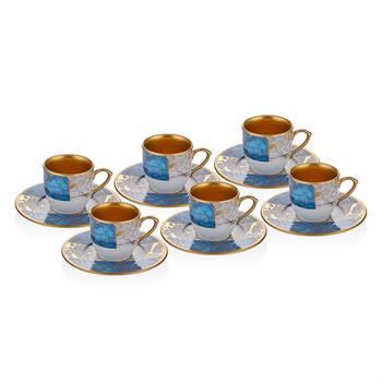 Mavi Mermer Desenli 6 Kişilik 12 Parça Kahve Fincan Takımı - Thumbnail