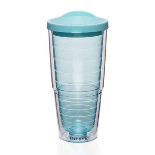 Mavi Kapaklı Çizgili Desenli Şeffaf Suluk