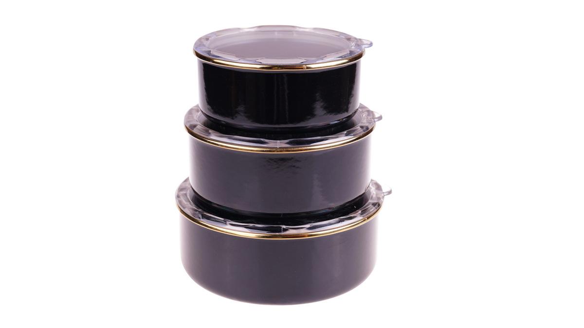 Melsa 3'lü Saklama Kabı 14-16-18 cm - Siyah Bambum