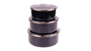 - Melsa 3'lü Saklama Kabı 14-16-18 cm - Siyah Bambum