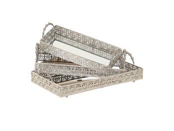 Biev - Aynalı Metal Gümüş 3'lü Tepsi Seti - 47x25x11 cm