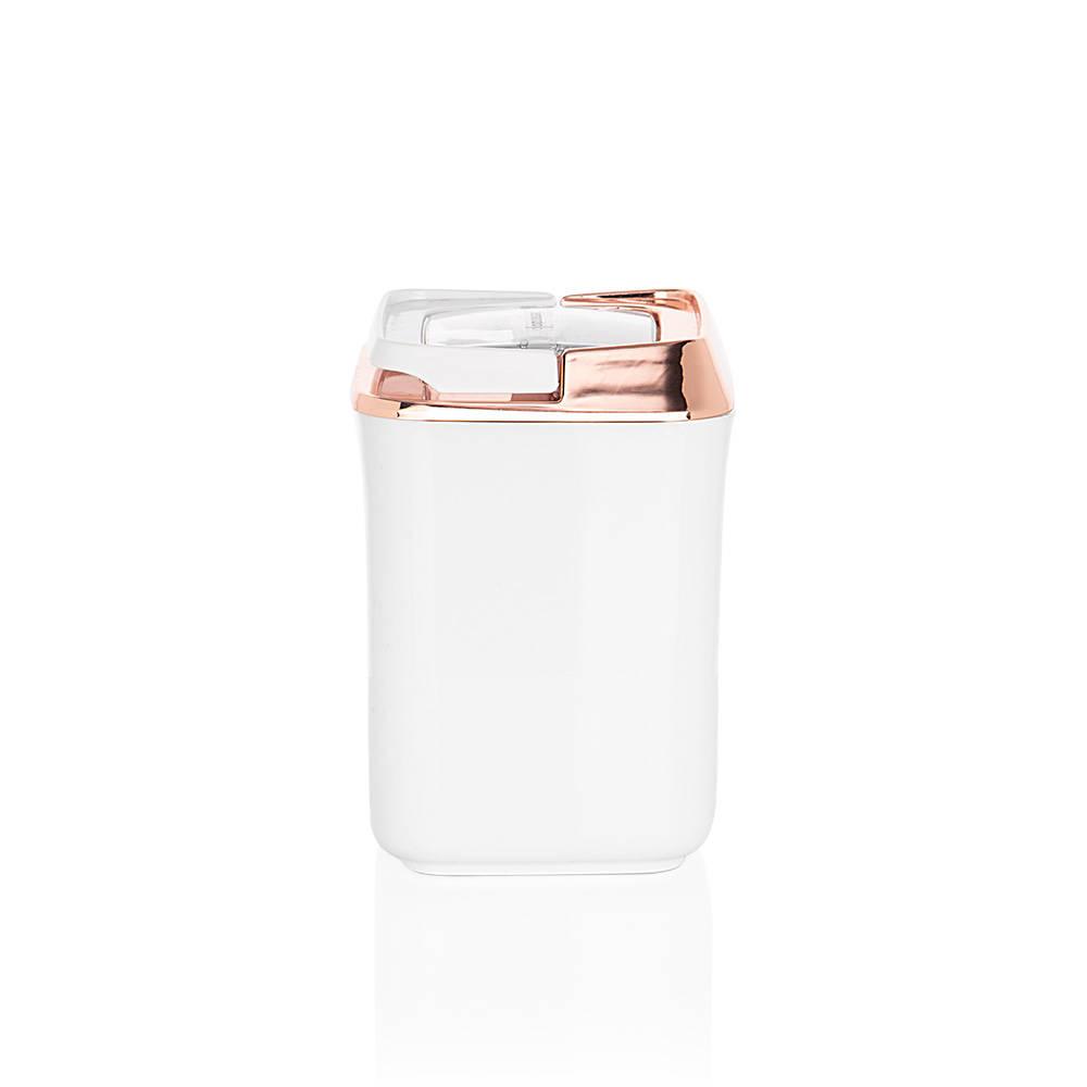 Mild Beyaz - Bakır Kare Plastik Saklama Kabı - 0,9 lt