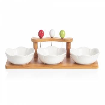 - Monat 3'lü Kase Seti - Bambu & Porselen