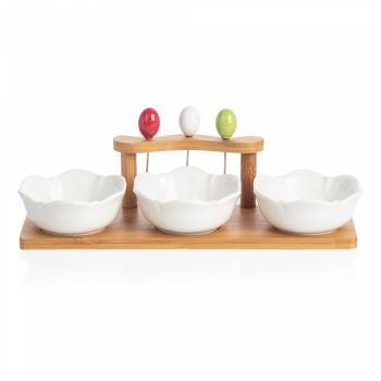 Bernardo - Monat 3'lü Kase Seti - Bambu & Porselen