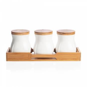 - Monat 3'lü Kavanoz Seti - Bambu & Porselen