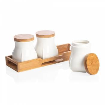 Monat 3'lü Kavanoz Seti - Bambu & Porselen - Thumbnail