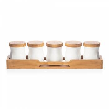 Bernardo - Monat 5'li Kavanoz Seti - Bambu & Porselen
