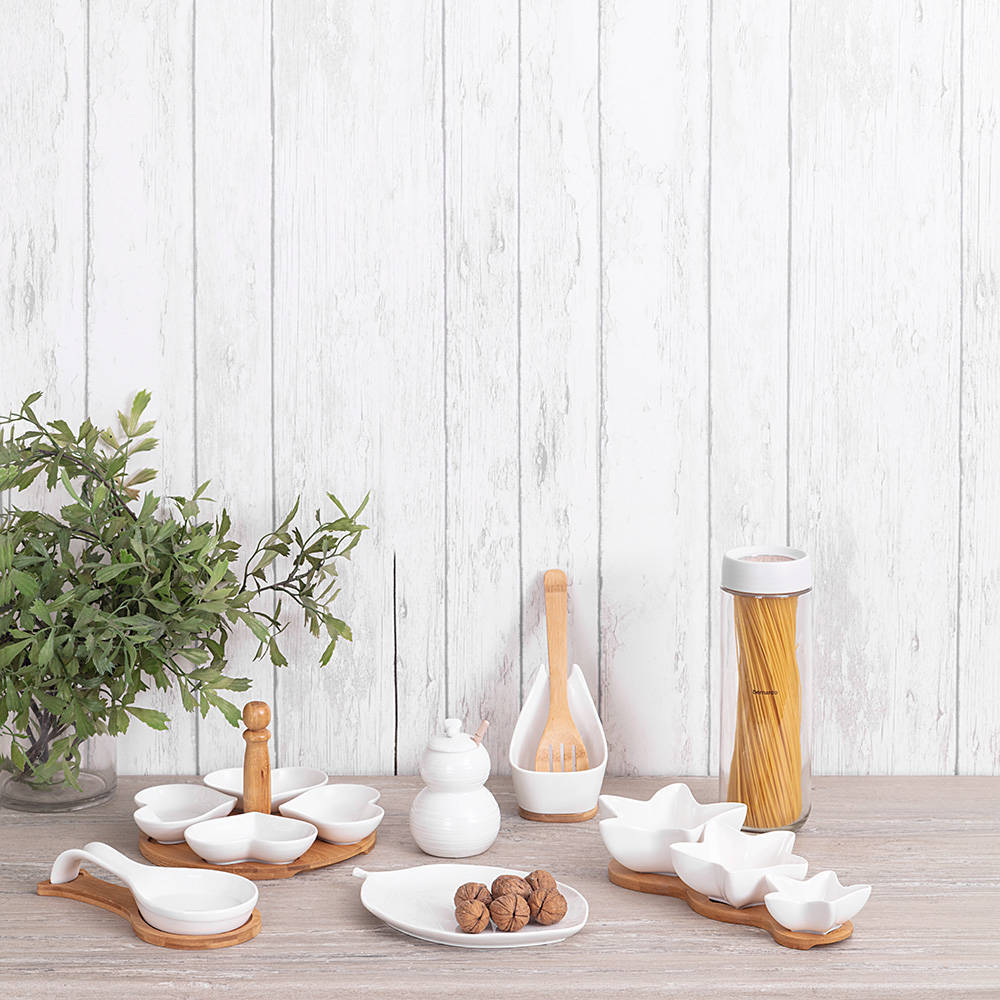 Monat Kaşık Tutucu - Bambu & Porselen