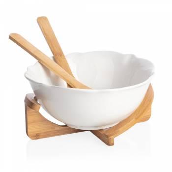 Bernardo - Monat Kaşıklı Salata Kasesi - Bambu & Porselen