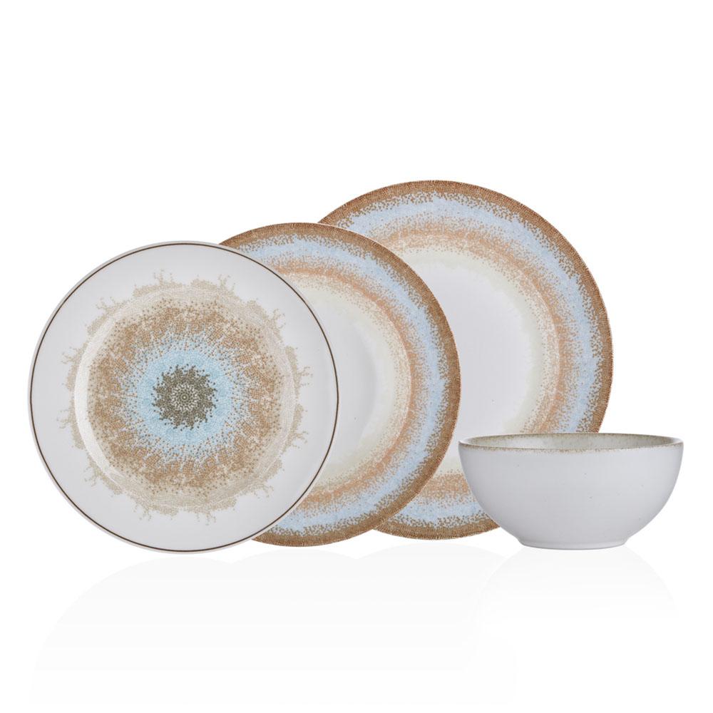 Mosaic 6 Kişilik 24 Parça Bone China Yemek Takımı