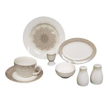 Bernardo - Mosaic 6 Kişilik 32 Parça New Bone China Kahvaltı Takım