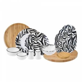 - Oliva - 44 Parça Bambu & Porselen Yemek ve Kahvaltı Takımı