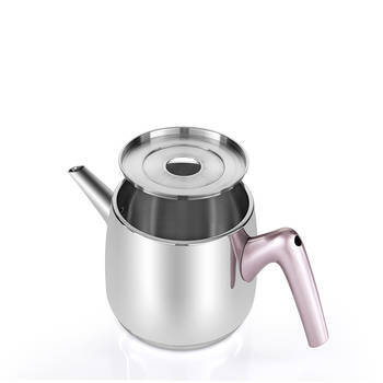 Bernardo - Orta Boy Çelik Çaydanlık - Rose Kulp (1)