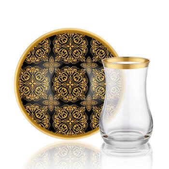 Biev - Otantic Black 6 Kişilik 12 Parça Çay Bardağı Takımı (1)