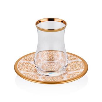 Biev - Otantic Gold 6 Kişilik 12 Parça Çay Bardağı Takımı