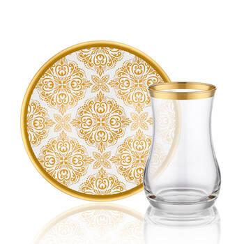 Biev - Otantic Gold 6 Kişilik 12 Parça Çay Bardağı Takımı (1)