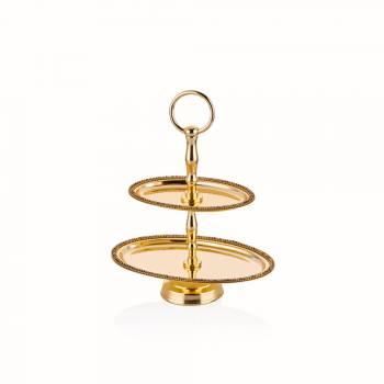 - Amber Altın Rengi Oval Katlı Kurabiyelik - 23,5 cm