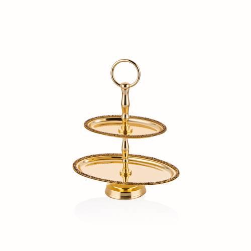 Amber Altın Rengi Oval Katlı Kurabiyelik - 23,5 cm