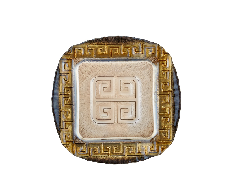 Pasta Tabağı Kare 6'lı Set - Siyah 28 Cm