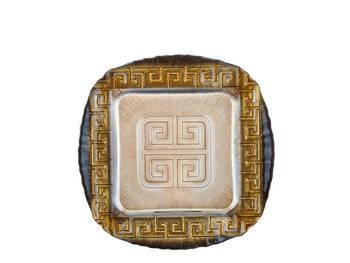- Pasta Tabağı Kare 6'lı Set - Siyah 28 Cm