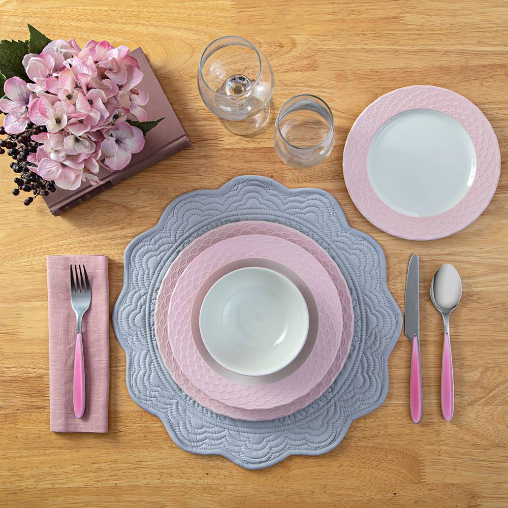 Petunia 6 Kişilik 24 Parça Stoneware Yemek Takımı - Pembe