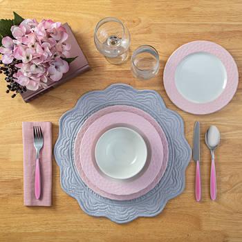 - Petunia 6 Kişilik 24 Parça Yemek Stoneware Takımı - Pembe (1)
