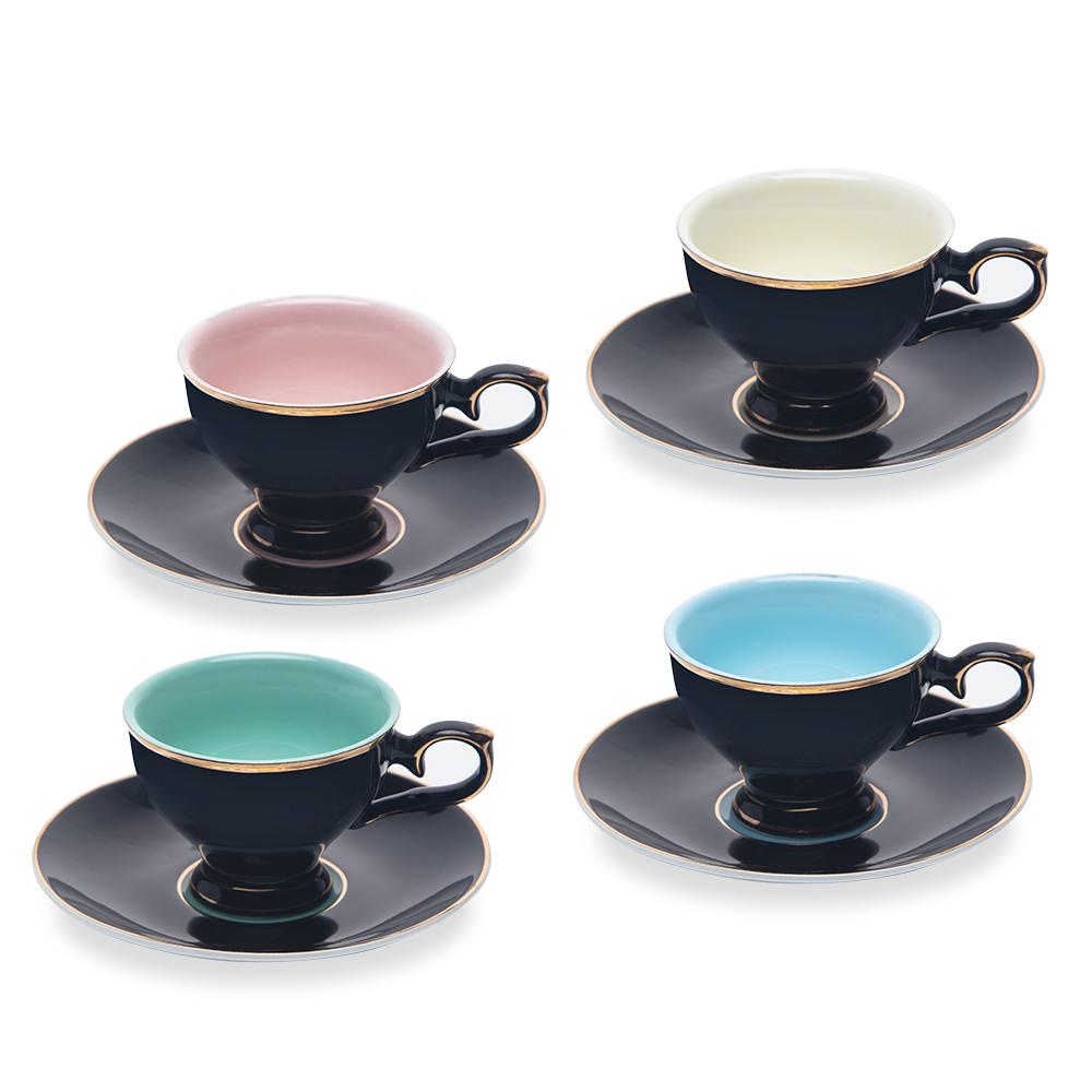 Renkli 4'lü Kahve Fincan Seti