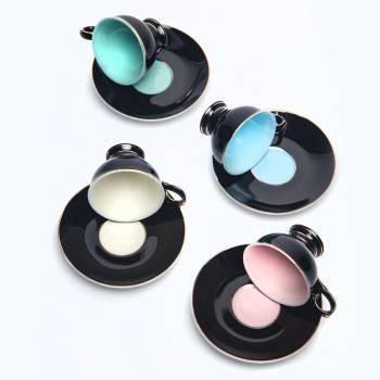 Renkli 4'lü Kahve Fincan Seti - Thumbnail