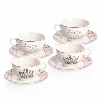 Bernardo - Rhoda 4 Kişilik Porselen Çay Fincanı Takımı