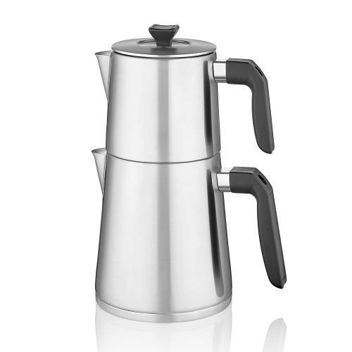 Rita Düz Form Çelik Çaydanlık Takımı
