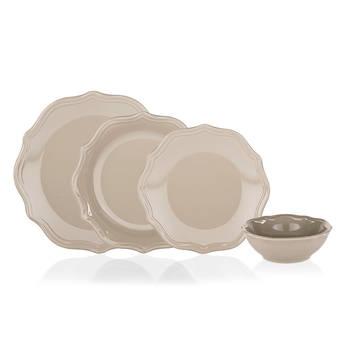 Bernardo - Rodin 6 Kişilik 24 Parça Stoneware Yemek Takımı - Kahverengi