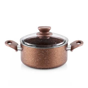 Bernardo - Rosin Bronz Kahve Granit Derin Tencere - 22 cm