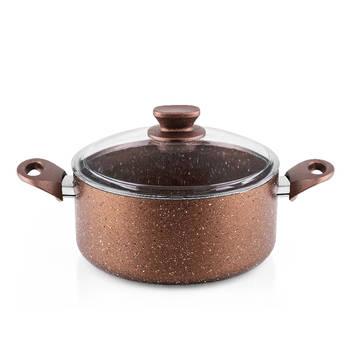 Bernardo - Rosin Bronz Kahve Granit Derin Tencere - 24 cm