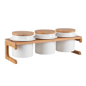 - Sasha 3'lü Stantlı Yuvarlak Baharatlık Seti - Porselen & Bambu