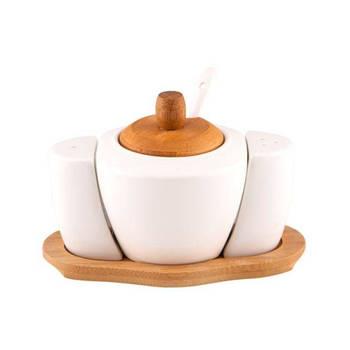 Biev - Sasha 3'lü Tuzluk Biberlik Seti - Porselen & Bambu