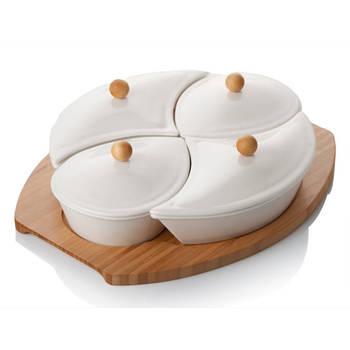 Biev - Sasha 4'lü Kapaklı Kahvaltılık - Porselen & Bambu