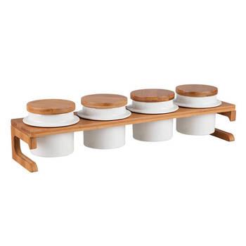 - Sasha 4'lü Stantlı Yuvarlak Baharatlık Seti - Porselen & Bambu
